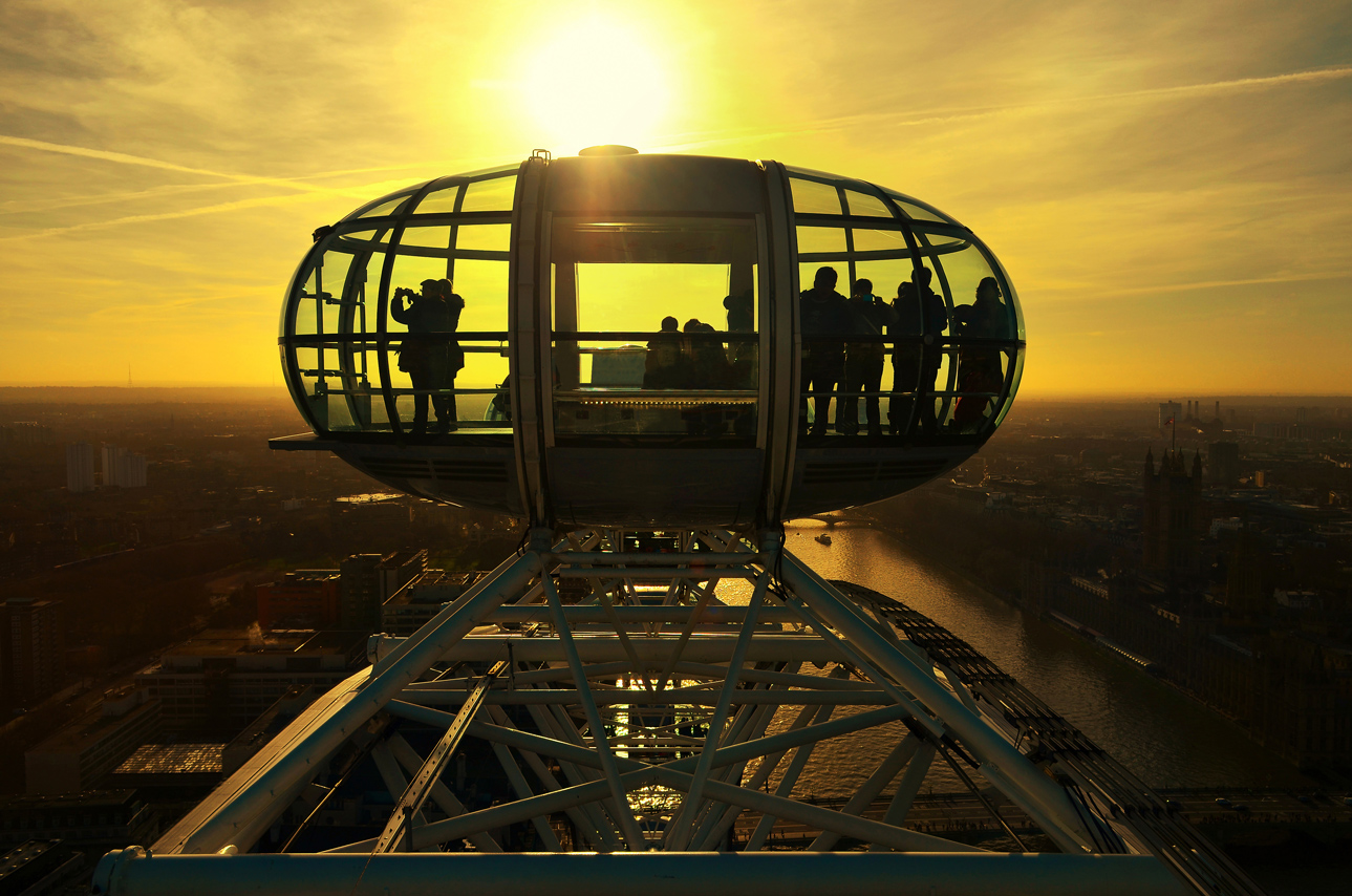 London Eye at sunset, London, England
